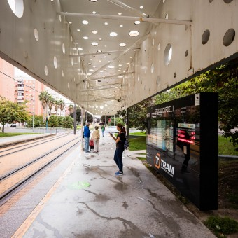 Architectural photography of the project Tram Stop Sergio Cardell in Alicante by SUBARQUITECTURA, photographer Jakob Börner architectural photographer Hamburg